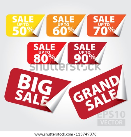 Big Sale and Grand Sale tags with Sale up to 50 - 90 percent text on square sticker tags - EPS10 Vector - stock vector