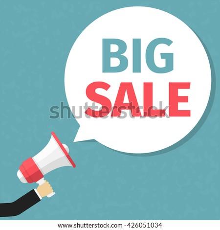 Big sale announcement, hand holding megaphone and specch bubble announcing big sale, vector eps10 illustration - stock vector