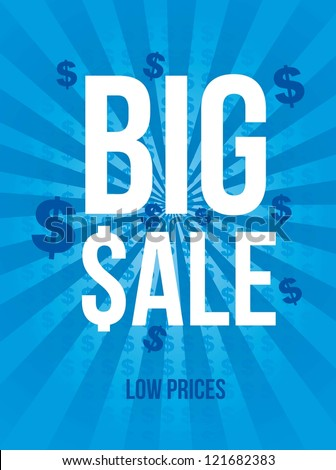 big sale announcement over blue background. vector