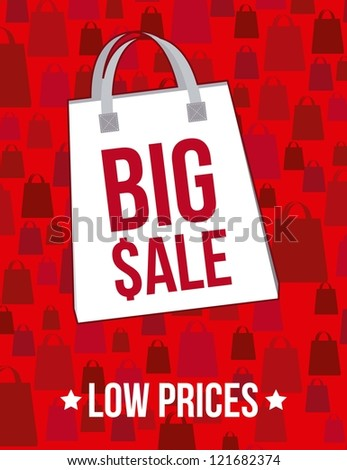 big sale announcement over red background. vector - stock vector