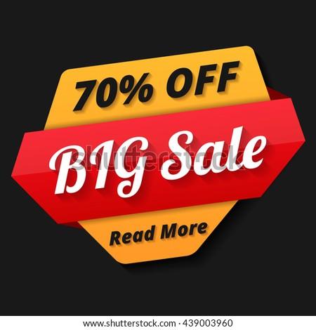 Big sale banner, 70% off, sale tag, vector eps10 illustration - stock vector