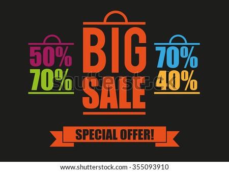 Big Sale. Banner. Poster. Bag, Vector - stock vector