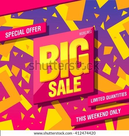 big sale banner template design - stock vector