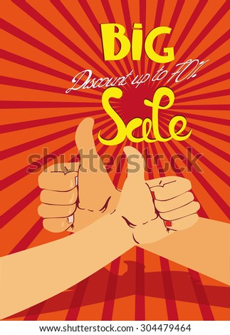 Big sale banner with thumbs
