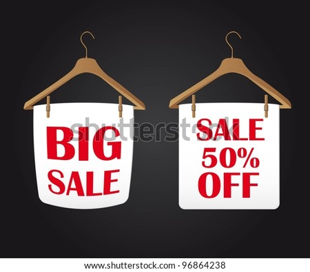 big sale clothes hanger over black background. vector
