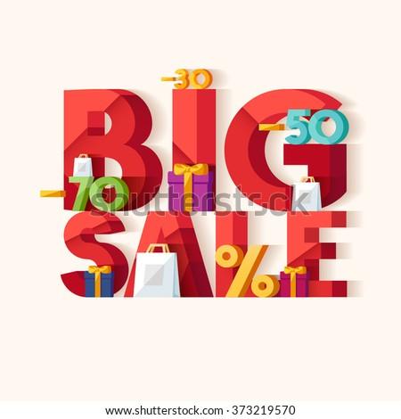 Big sale concept. Typographic poster. - stock vector