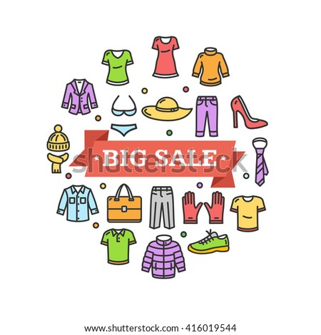 Big Sale Concept with Colorful Clothes Icons. Vector illustration - stock vector