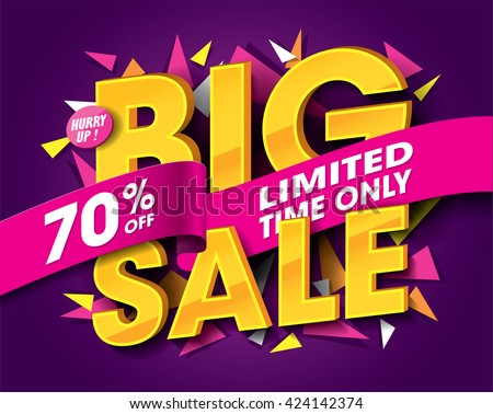 Big Sale concept with label banner. sale layout design. Vector illustration. - stock vector