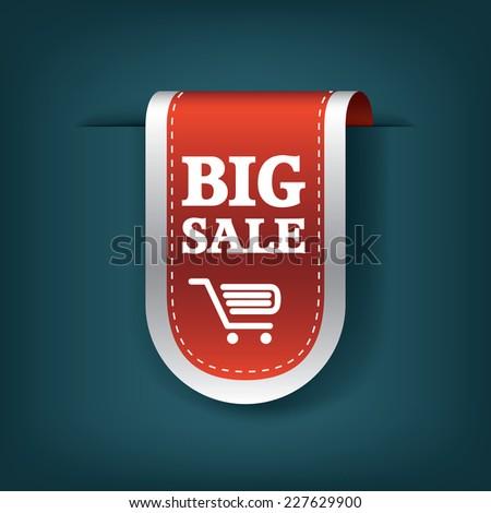 Big sale 3d vertical ribbon bookmark tag element for sales promotion. Eps10 vector illustration for websites or online shops. - stock vector