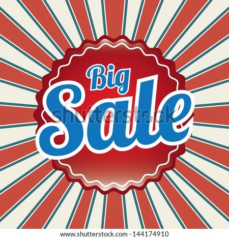 big sale design over grunge background vector illustration - stock vector