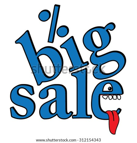 Big sale design template, cartoon vector