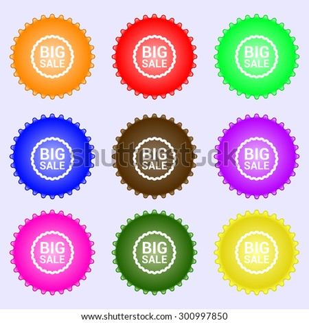 Big sale icon sign. A set of nine different colored labels. Vector illustration