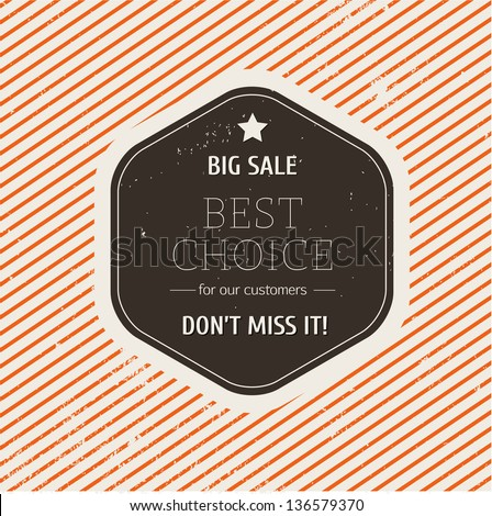 Big sale label. Retro style - stock vector
