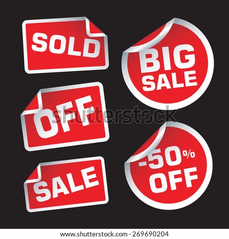Big Sale, OFF and Sale vector stickers