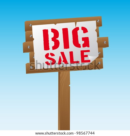 big sale over wooden sign over sky background. vector