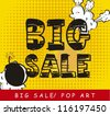 big sale over yellow background, pop art. vector illustration - stock photo