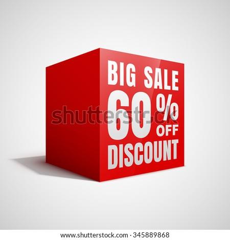 Big sale 60 percent off discount red cube. - stock vector