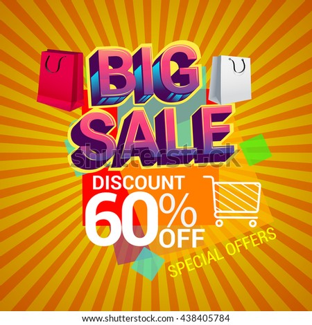 Big sale promo department store, Big sale discount 60% off banner template design with colorful geometric background. Sale banner template design.