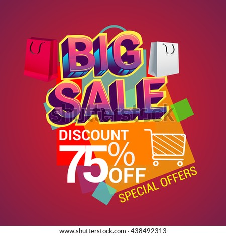 Big sale promo department store, Big sale discount 75% off banner template design with colorful geometric background. Sale banner template design.