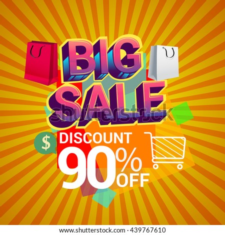 Big sale promo department store, Big sale discount 90% off banner template design with colorful geometric background. Sale banner template design.