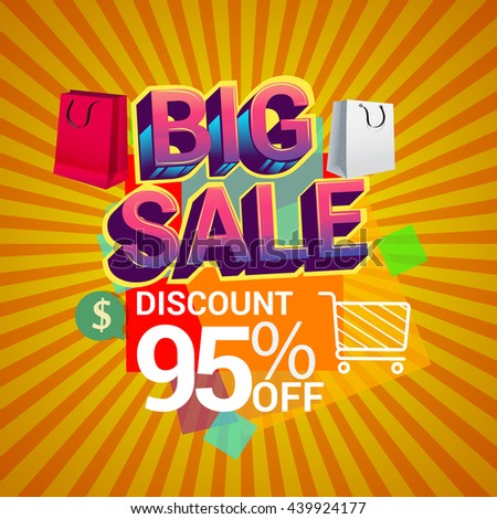 Big sale promo department store, Big sale discount 95% off banner template design with colorful geometric background. Sale banner template design.