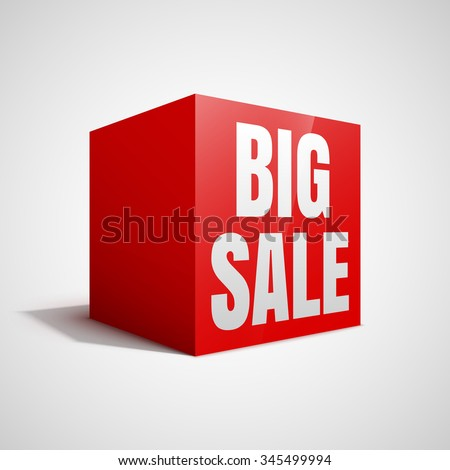 Big sale red cube.  - stock vector