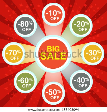 Big Sale Red Poster - stock vector