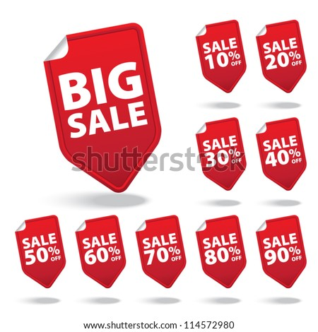 Big Sale red tags with sale various percent - Vector - stock vector