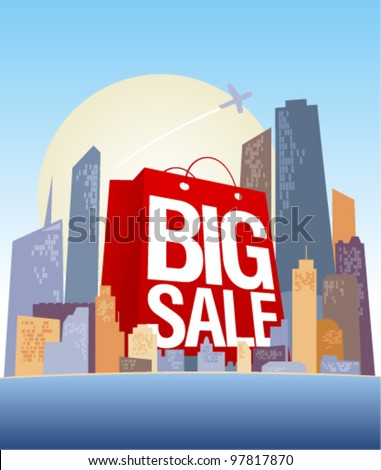 Big sale shopping bag in city, vector poster. - stock vector