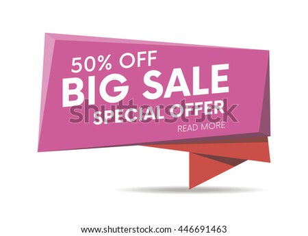 Big sale, special offer web banner, poster and background. Vector illustration. Read more place.