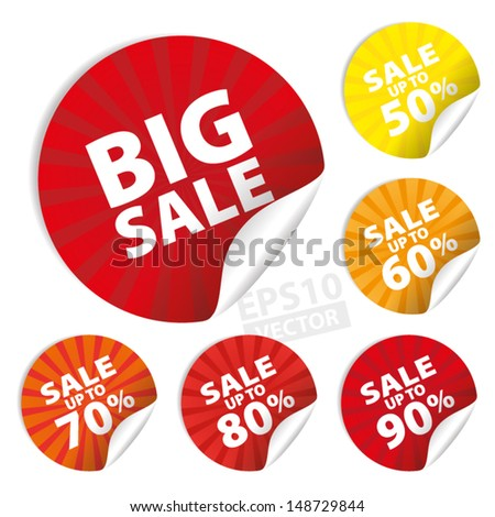 Big Sale Stickers and tags with Save up to 50 - 90 percent on Yellow and Red Background : EPS10 Vector - stock vector