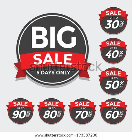 Big Sale tags with Sale up to 30 - 90 percent text on - stock vector