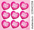 Big Sale Valentine Heart Sticker and Tags with sale 10 - 90 percent text on heart - EPS10 Vector - stock vector