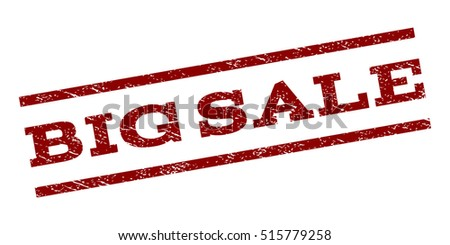 Big Sale watermark stamp. Text tag between parallel lines with grunge design style. Rubber seal stamp with scratched texture. Vector dark red color ink imprint on a white background.