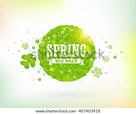 Big Sale Web Banner. Spring Concept Vector Design, Consisting of Clovers Frame Illustration - stock vector