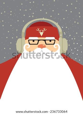 Big Santa Claus DJ  design with copy space - stock vector