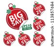 Big Save Christmas Ball Sticker tags with Save up to 25 - 65 percent text on Red Christmas Ball Sticker tags - EPS10 Vector - stock vector