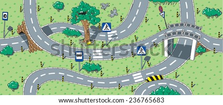 Big seamless pattern or background of roads with crossings, bends and road signs