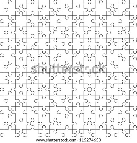 Big seamless puzzle jigsaw. Black contours on white. Vector image. - stock vector