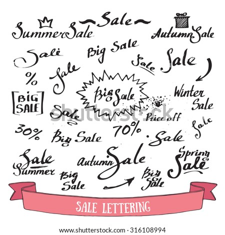 Big seasonal Sale inscriptions. Handwritten lettering with ink. Collection of hand drawn letters and figures with grunge splatter. Vector set isolated on white. - stock vector