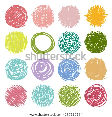 big set, a collection of round shape, colorful circles and isolated elements for design in grunge freehand style - vector illustration - stock vector