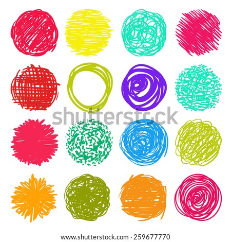 big set, a collection of round shape, colorful circles and isolated elements for design in grunge freehand style - vector illustration