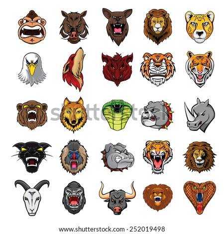 Big Set Animal Head Collection : TwentyFive - stock vector