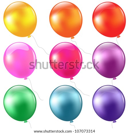Big Set Balloons, Isolated On White Background, Vector Illustration - stock vector