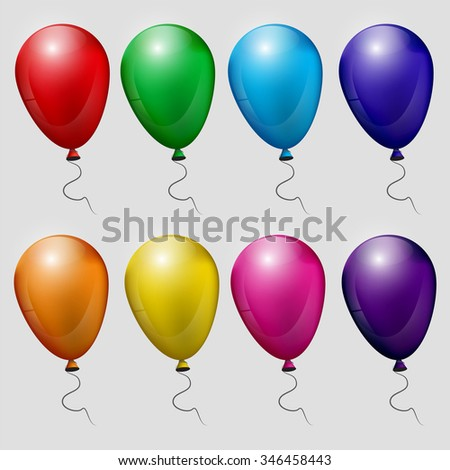 Big Set Balloons, Isolated On White Background, Vector Illustration. eps 10