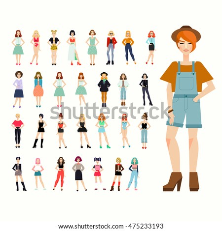 Big set 30 beautiful young women in outerwear, casual indoor, official, sport bright clothing, evening dresses, outfit. Vector illustration. High quality. Fashion female avatars.