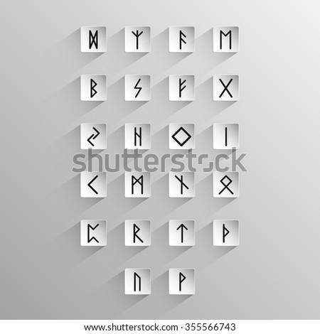 Big Set Celtic Alphabet Icons Long Stock Vector Royalty Free