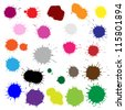 Big Set Color Blobs Stains, Isolated On White Background, Vector Illustration - stock photo