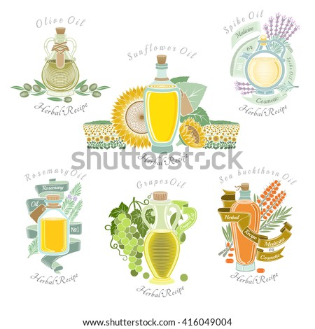 Big set color labels of plant oils for food medicine or cosmetics production - stock vector