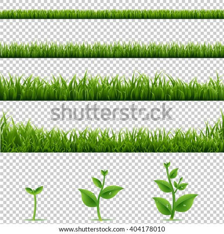 Big Set Grass And Plants, Isolated on Transparent Background, With Gradient Mesh, Vector Illustration - stock vector